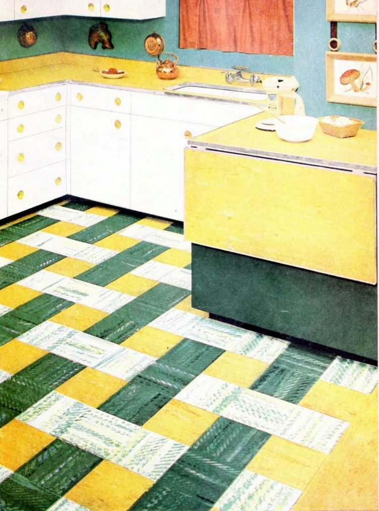 Retro basketweave retro kitchen floor from the 1950s - yellow green and white
