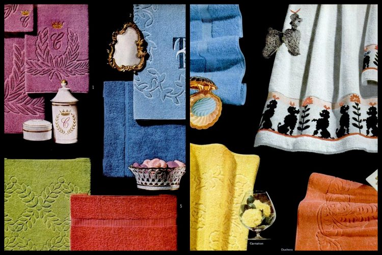 Retro bath towels from the 1950s