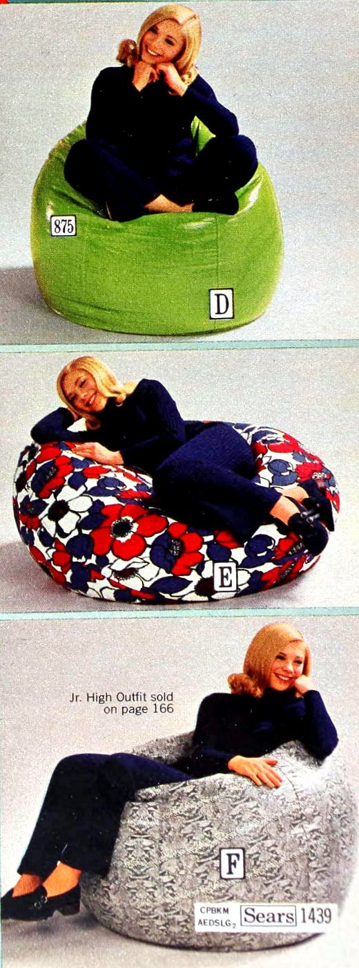 Retro bean bag chairs from 1971