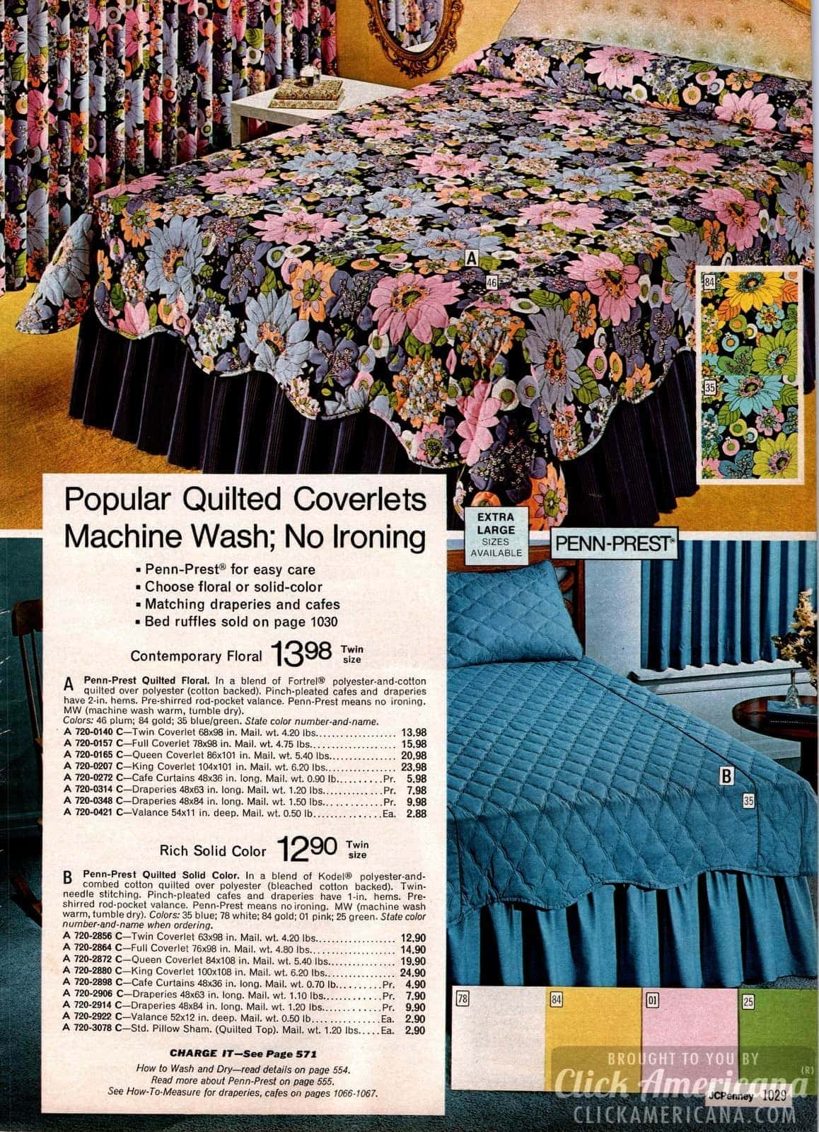 Floral and scalloped bedspreads