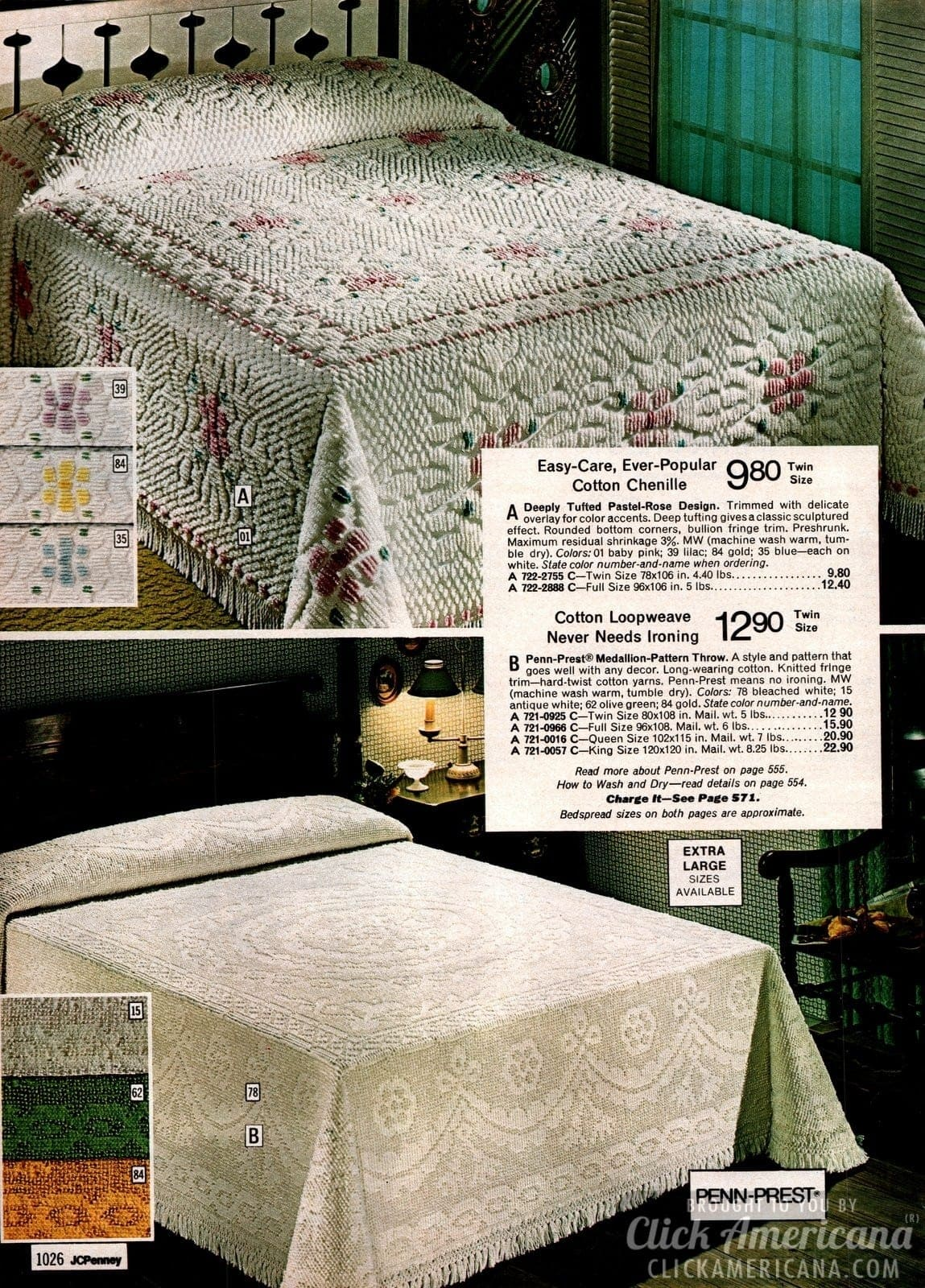 Cotton chenille tufted pastel rose bedspread & medallion pattern throw