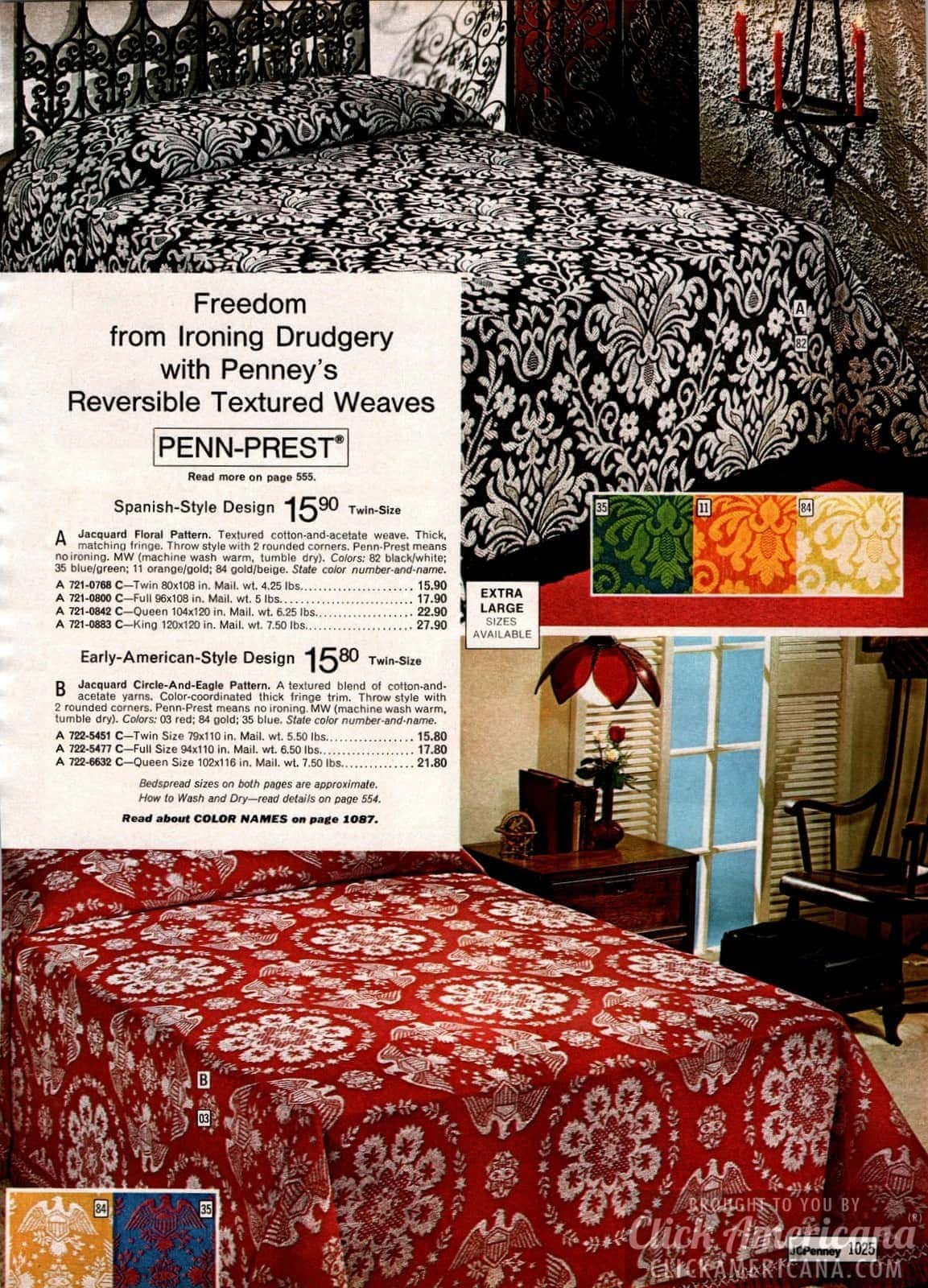 Spanish-style and early-American-style designs on retro bedding