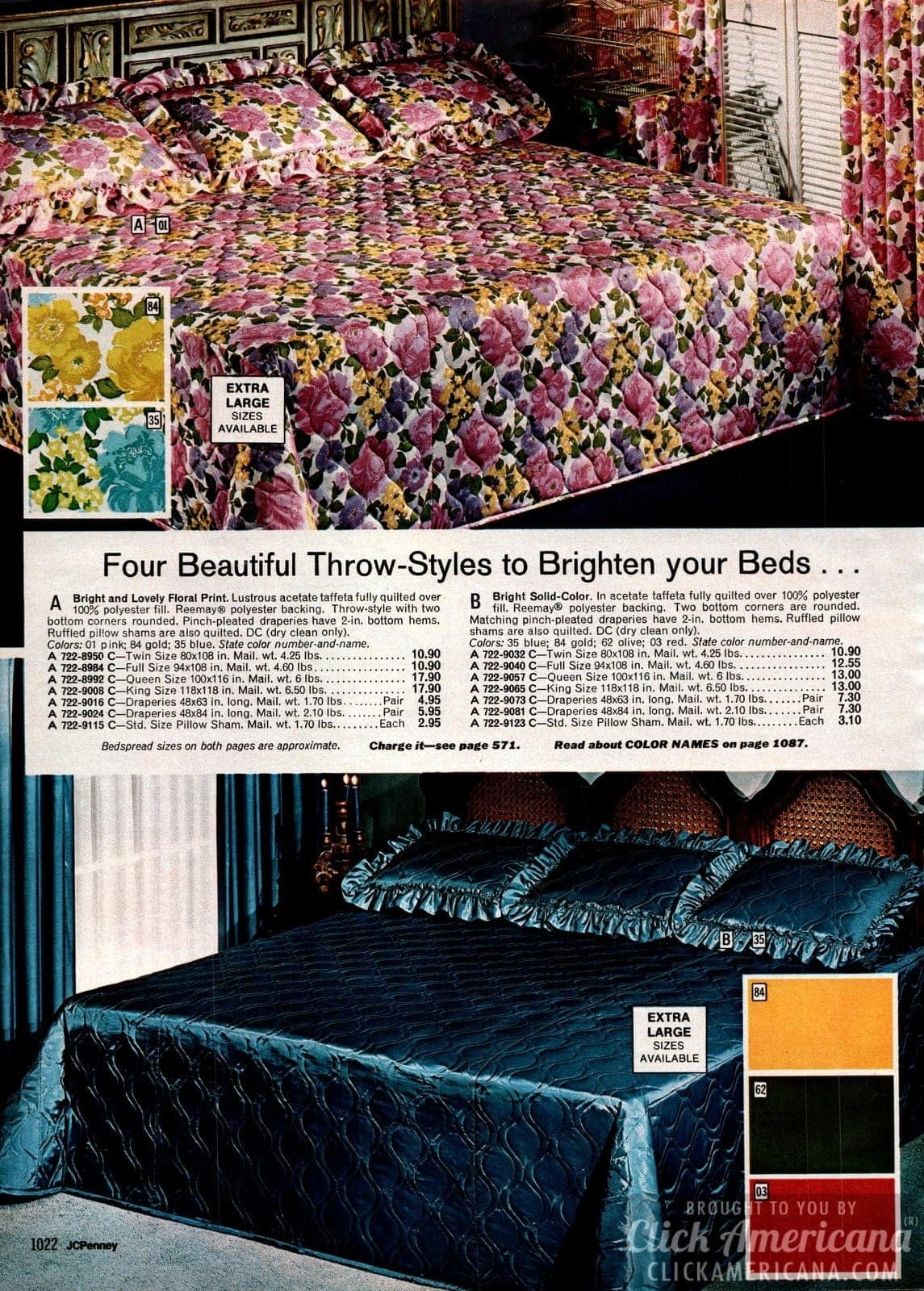 Shiny bedspreads with lovely flower print and acetate satin solid colors