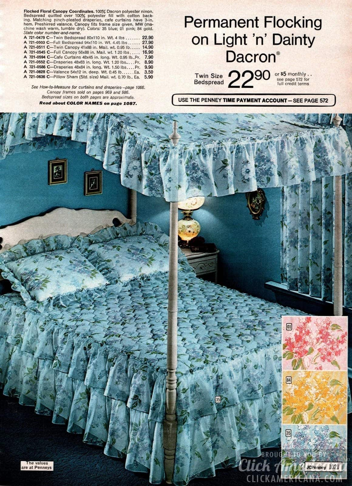 Flocked floral canopy coordinated bedding in blue, pink and gold