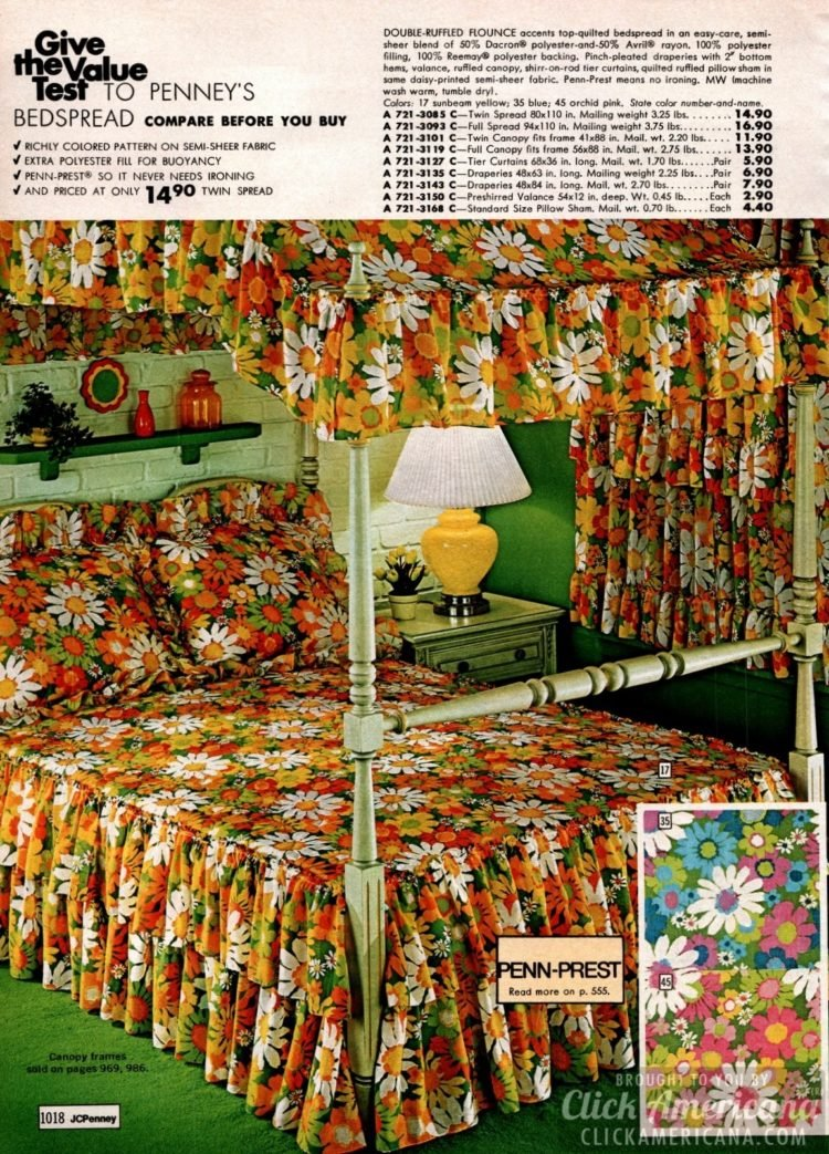 Double-ruffled flounce canopy bedding with big flowers in sunbeam yellow, blue and orchid pink