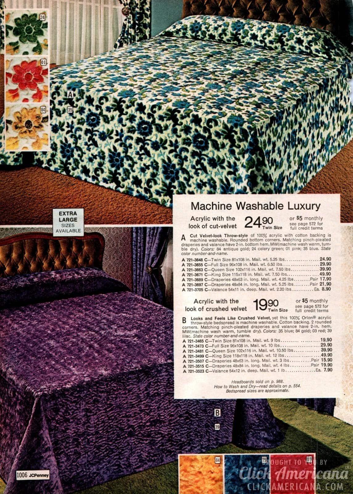 Acrylic crushed velvet bedspreads from the '70s - including cut velvet flowers
