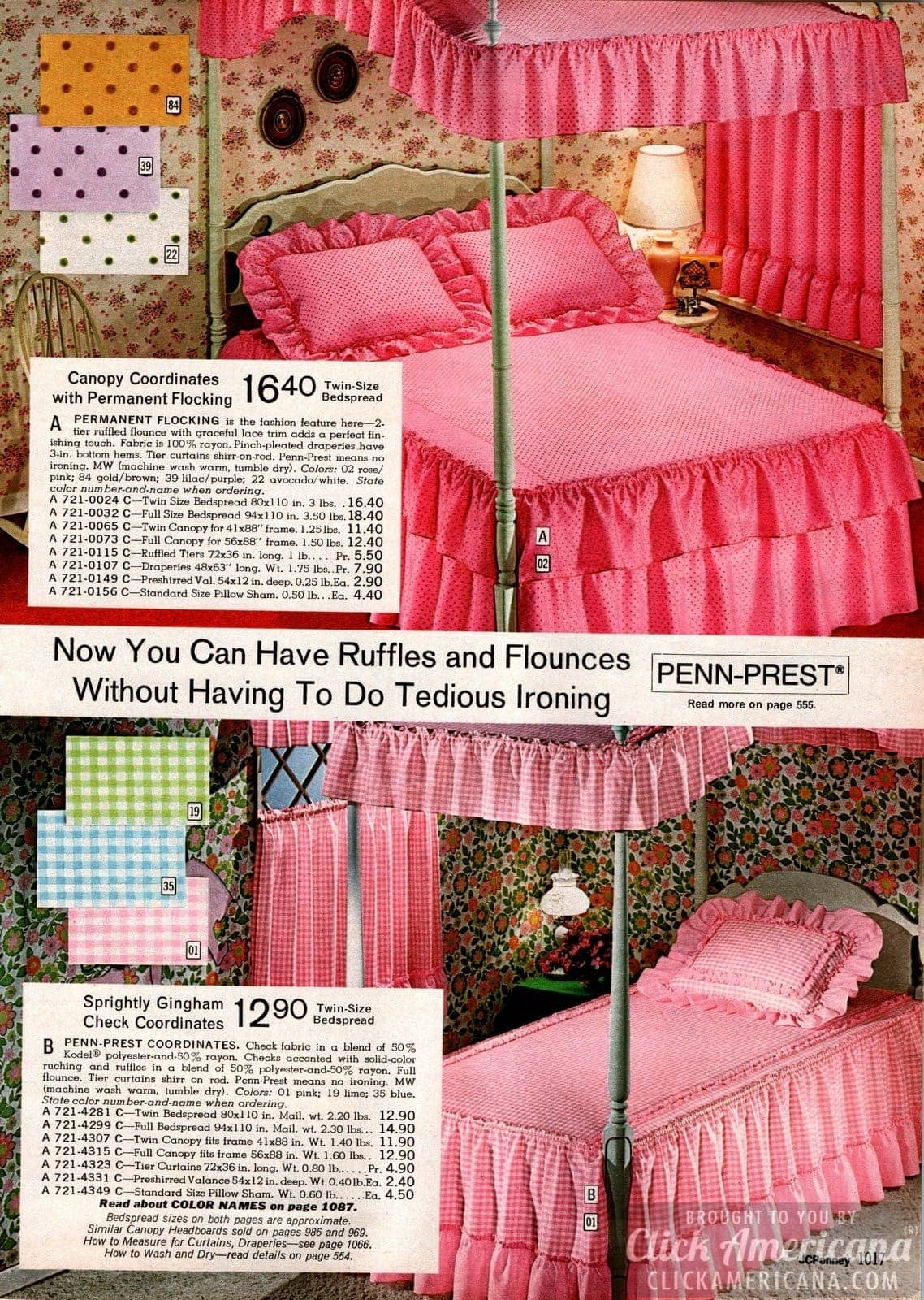 Canopy beds with ruffles and flounces in pink gingham and polka dots