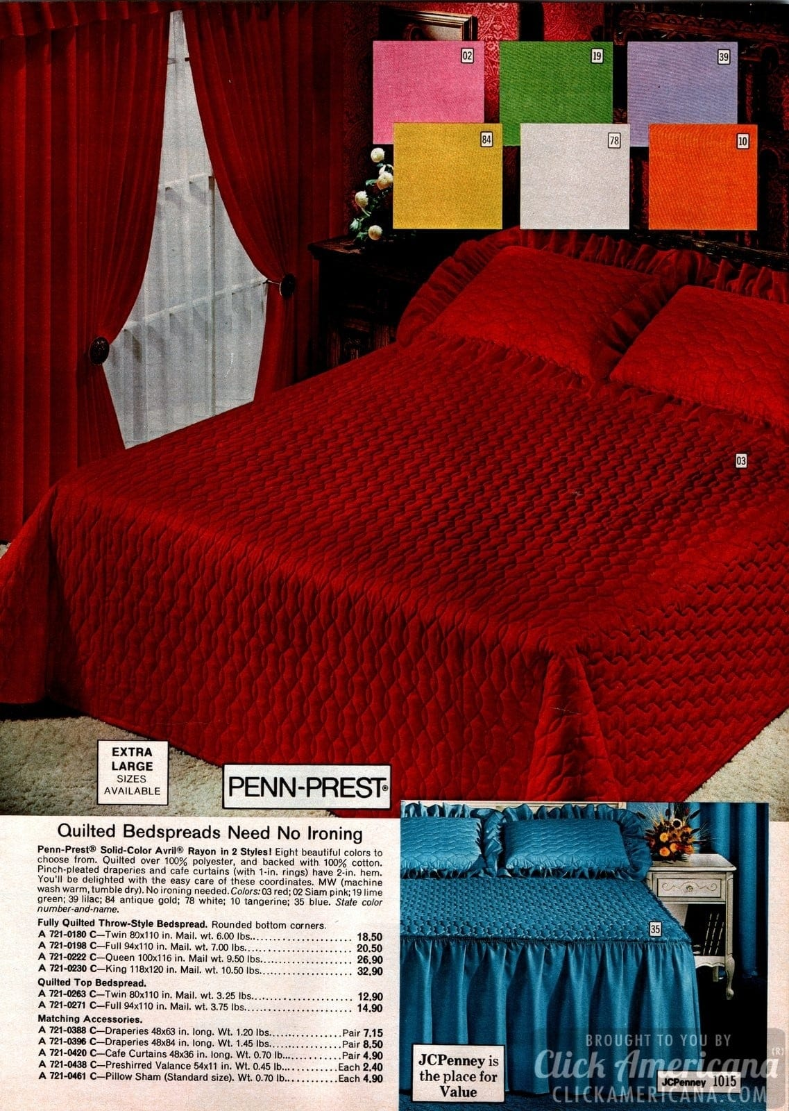 No-iron quilted bedspreads in solid colors