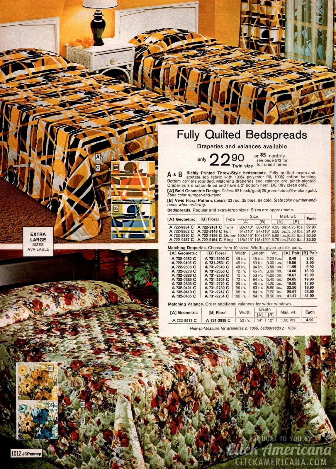 Quilted bedspreads, draperies & valances - Geometric and floral prints