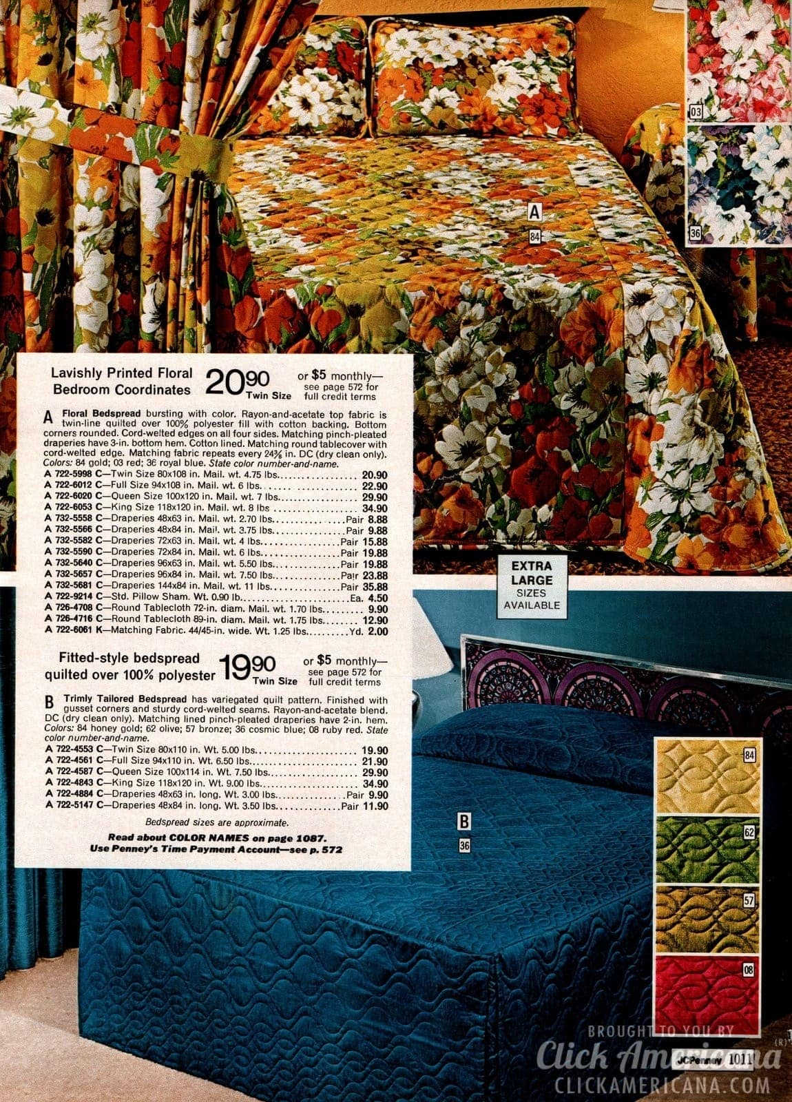 Printed floral bedroom coordinates & fitted-style polyester bedspread