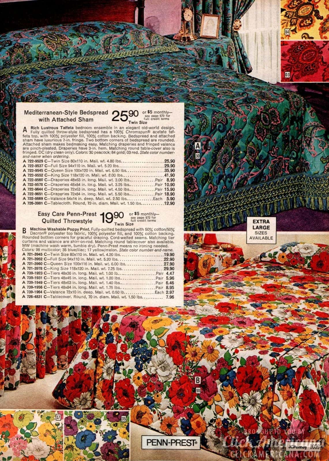 Mediterranean-style bedspread with sham and bright multicolored poppy print quilt