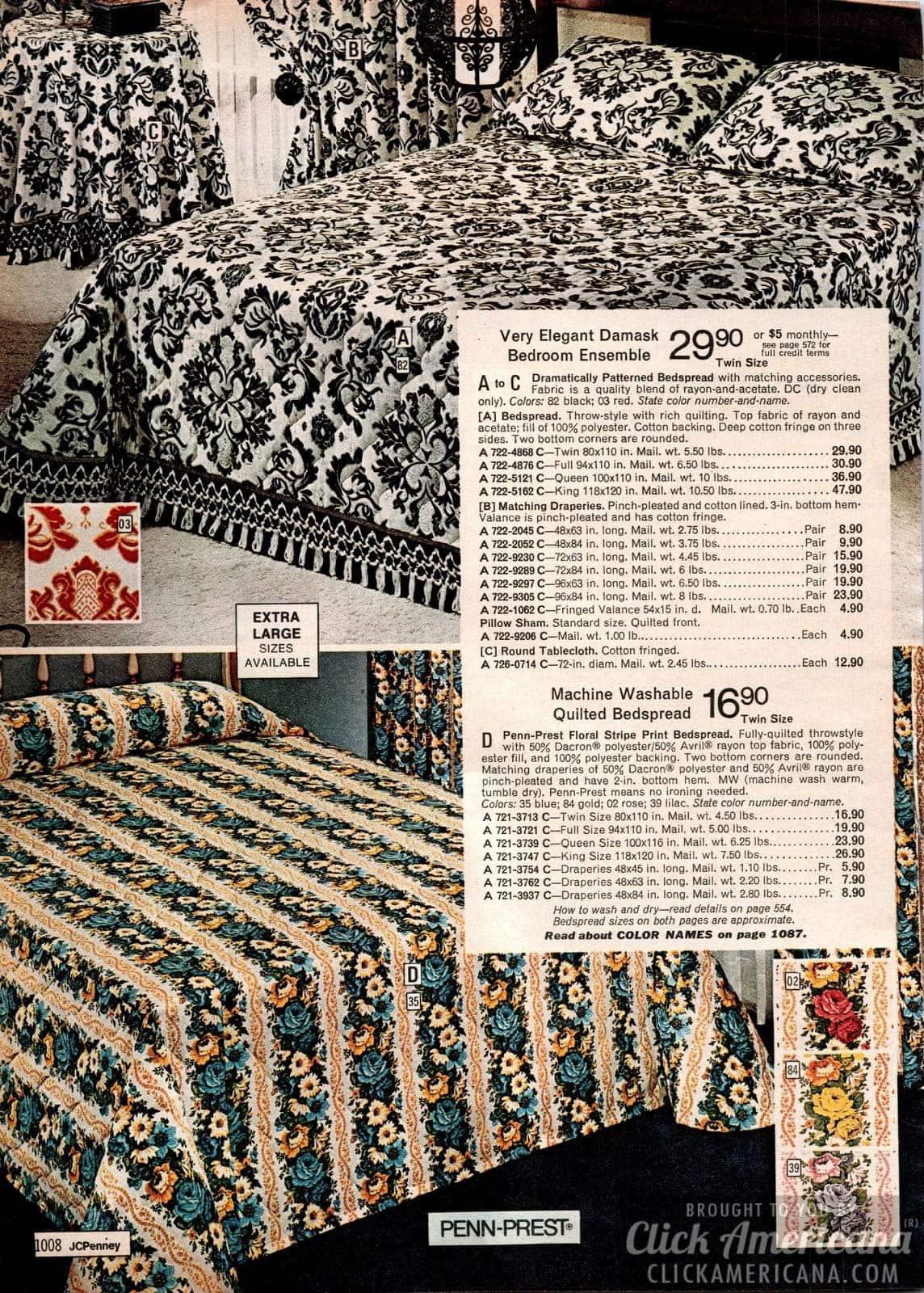Elegant damask bedroom ensemble and Penn-Prest floral stripe decor
