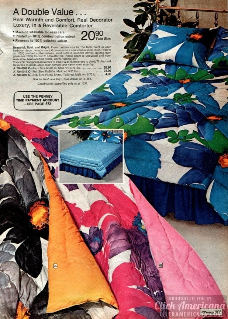 Huge flowers on reversible comforters from the '70s