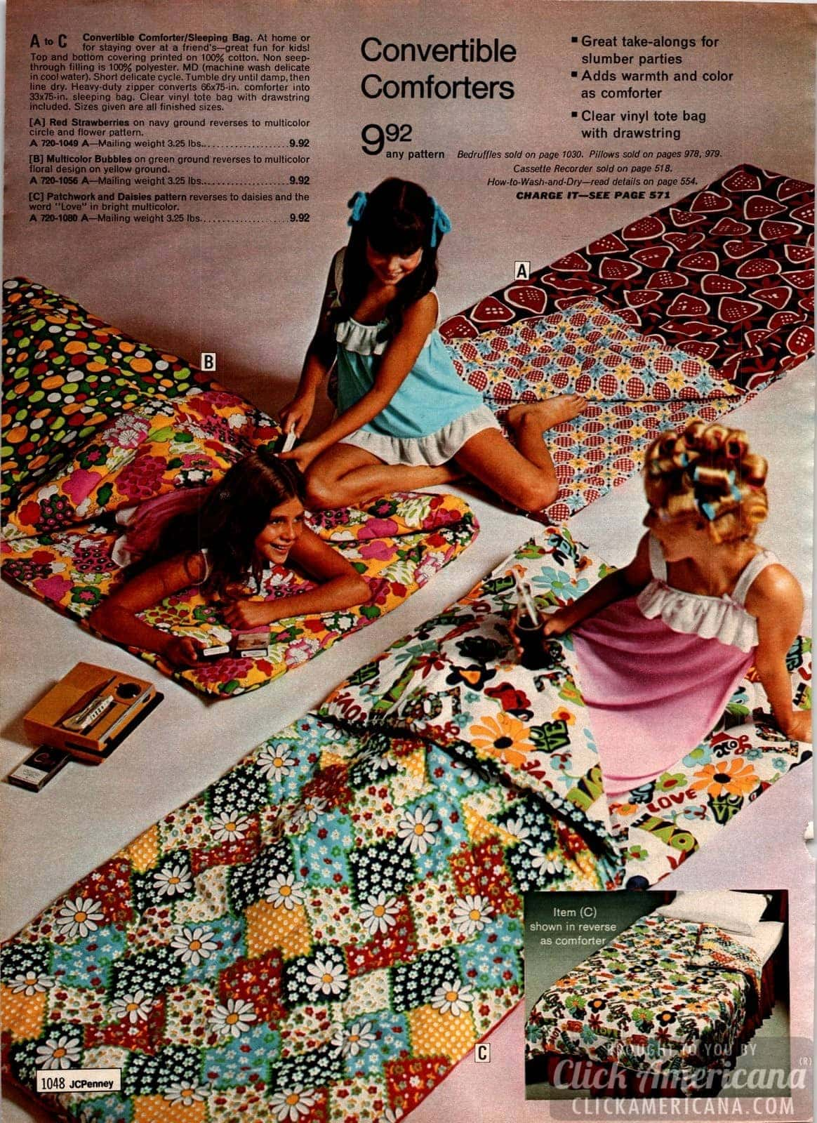 Retro sleeping bags for girls - slumber party comforters