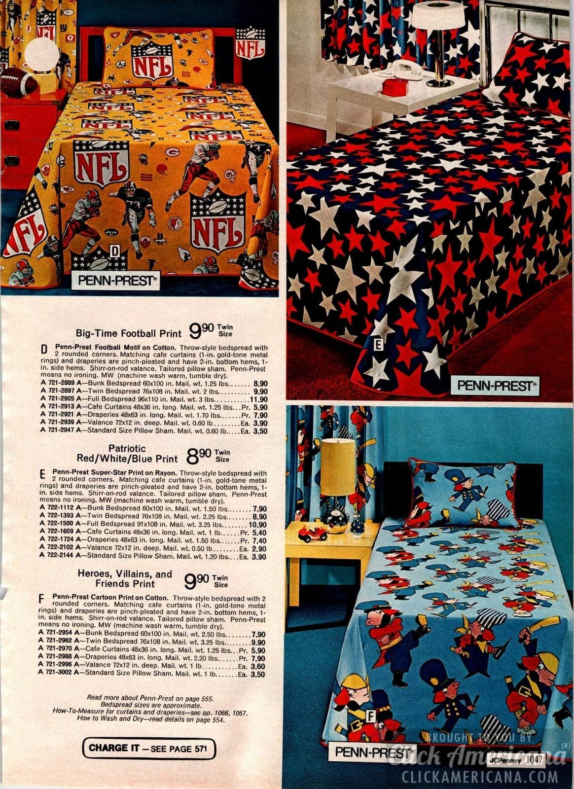 NFL Football print, patriotic red/white/blue & heroes, villians and friends 70s bedspreads for kids