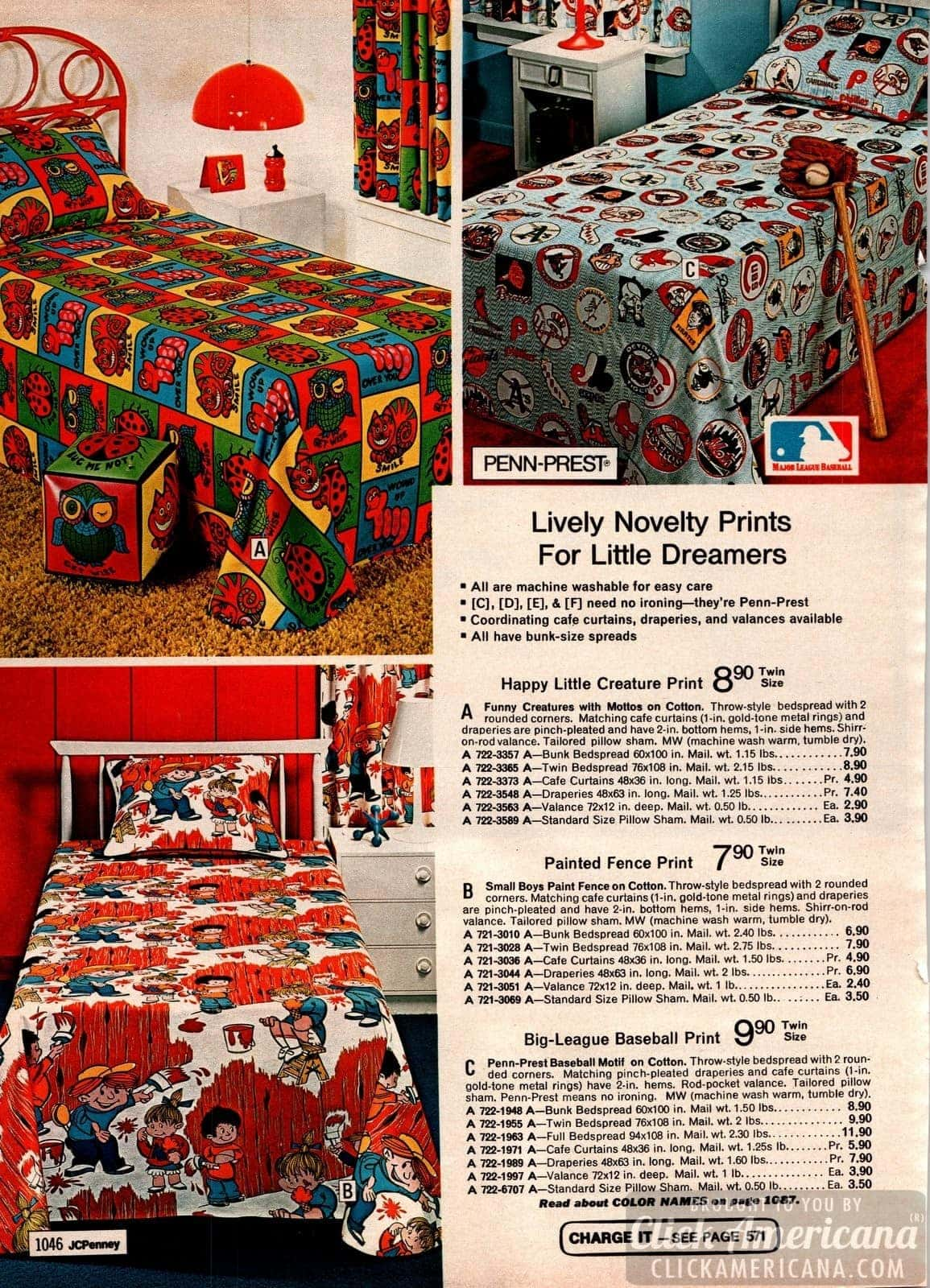 Retro kids' bedspreads - Happy little creature, painted fence and big-league baseball prints