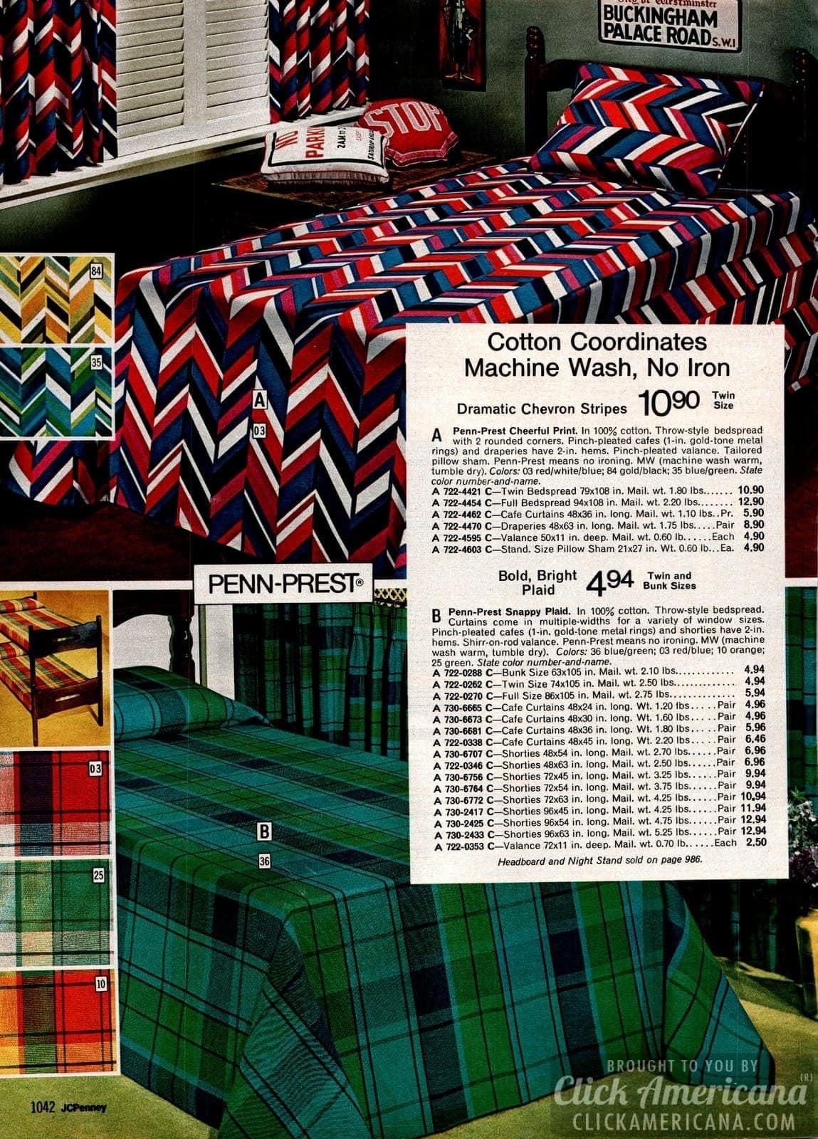 Chevron stripes and bold, bright plaid cotton bedspreads