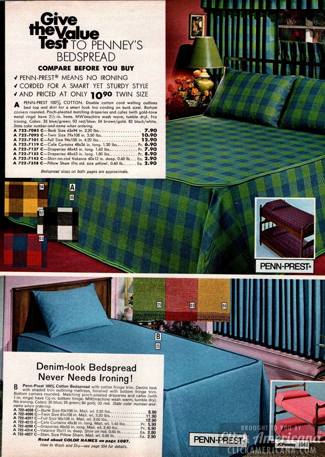Popular bedspreads - Gingham-style and denim-look decor