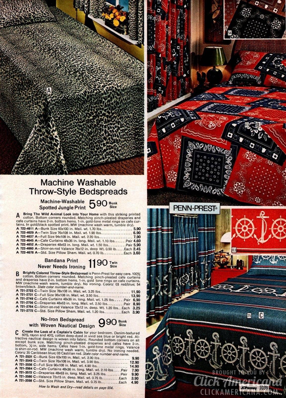 Leopard, bandana print and nautical design throw-style bedspreads