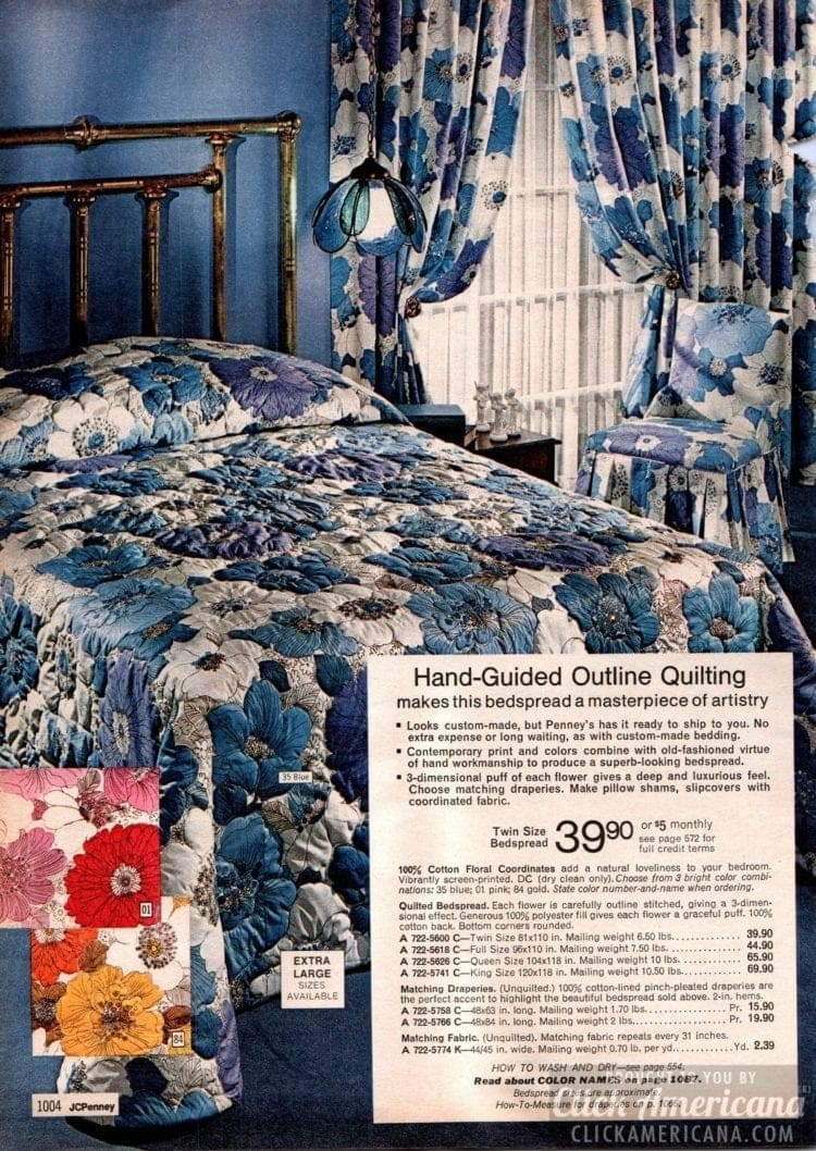 Hand-guided outline quilting for blue, pink and gold color schemes