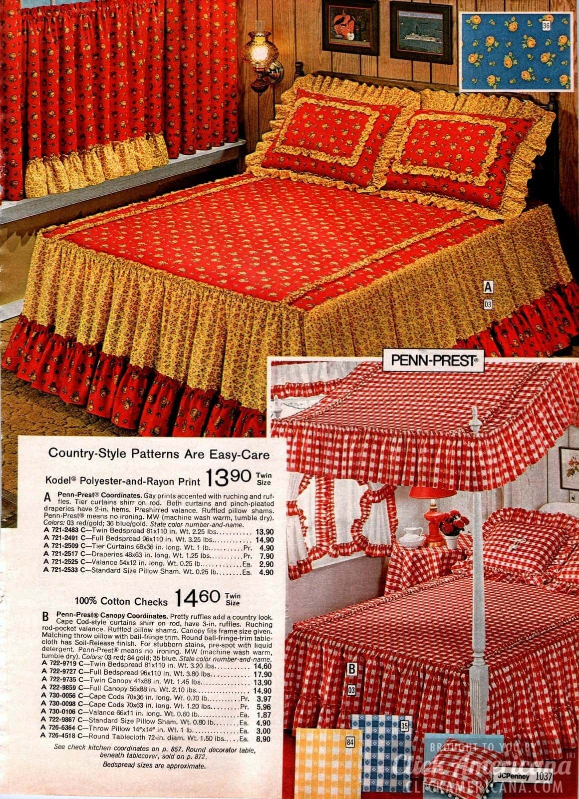 Country-style patterns and cotton checks for canopy bed