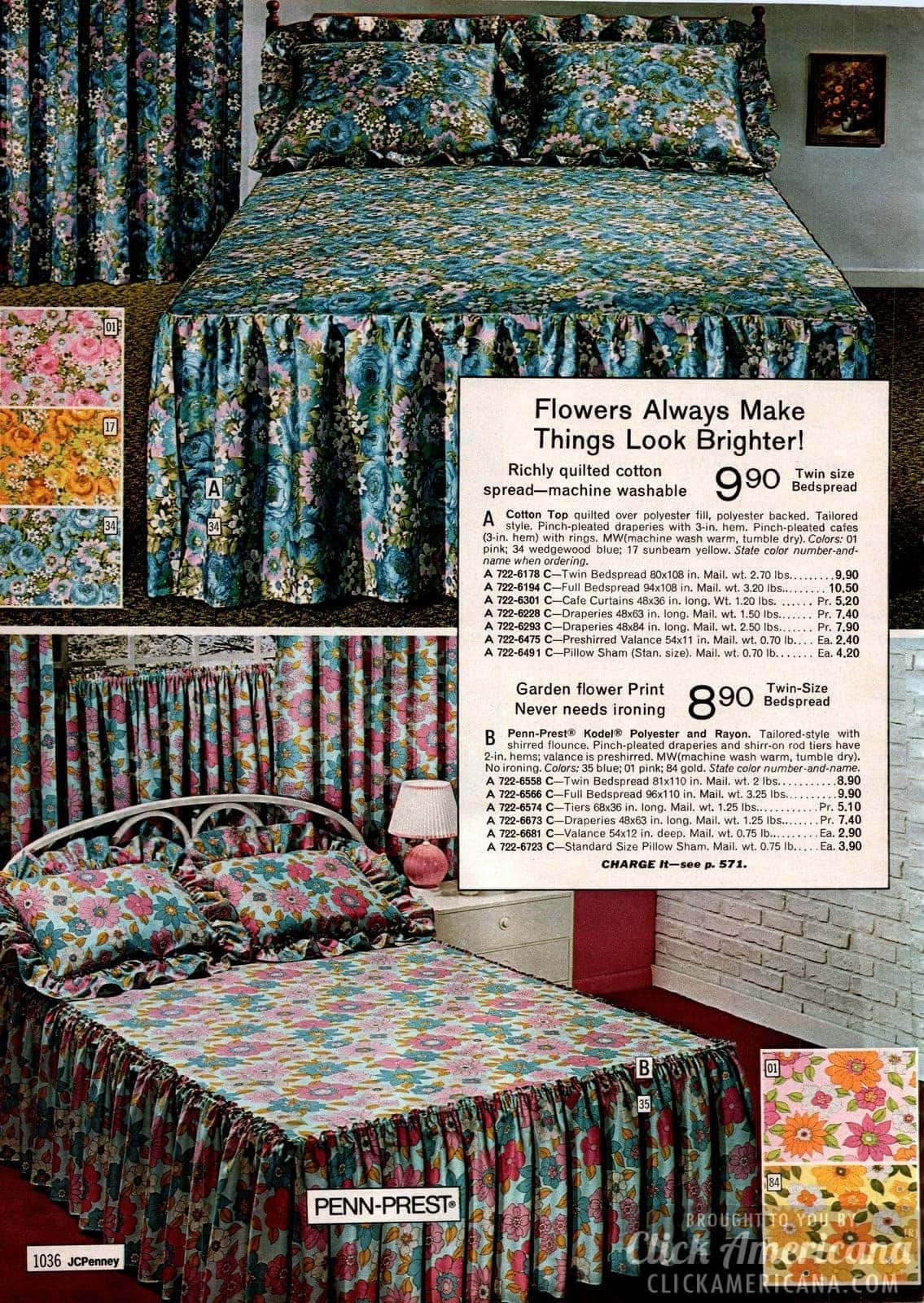 Old-fashioned quilted cotton garden flower print bedspreads