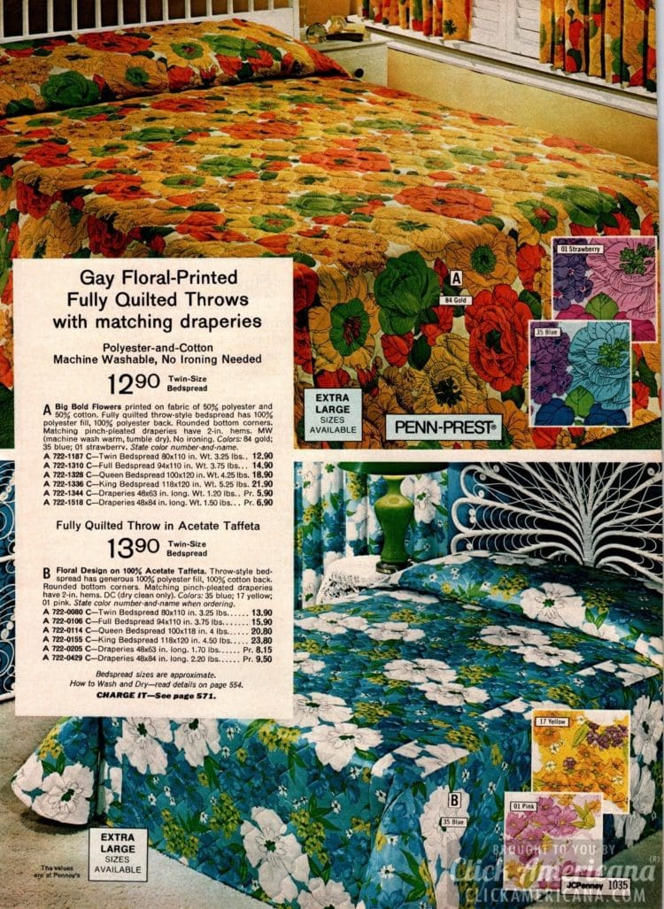 '70s Floral-printed quilted bedroom throws with matching drapes