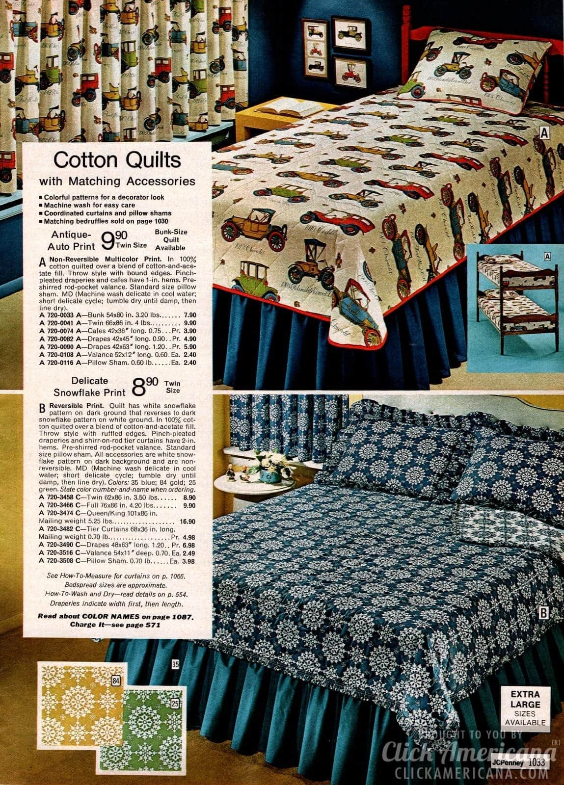 Cotton quilts with matching accessories - Antique autos and snowflake prints