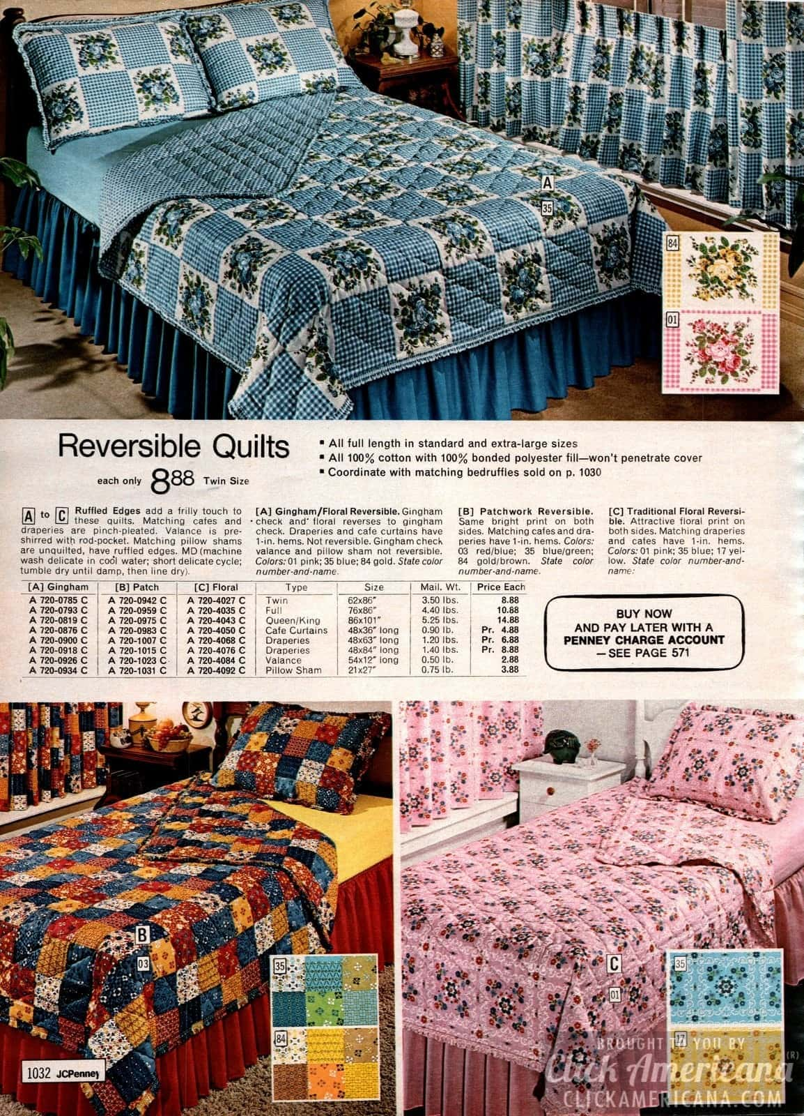Reversible quilts in patchwork and ginghams