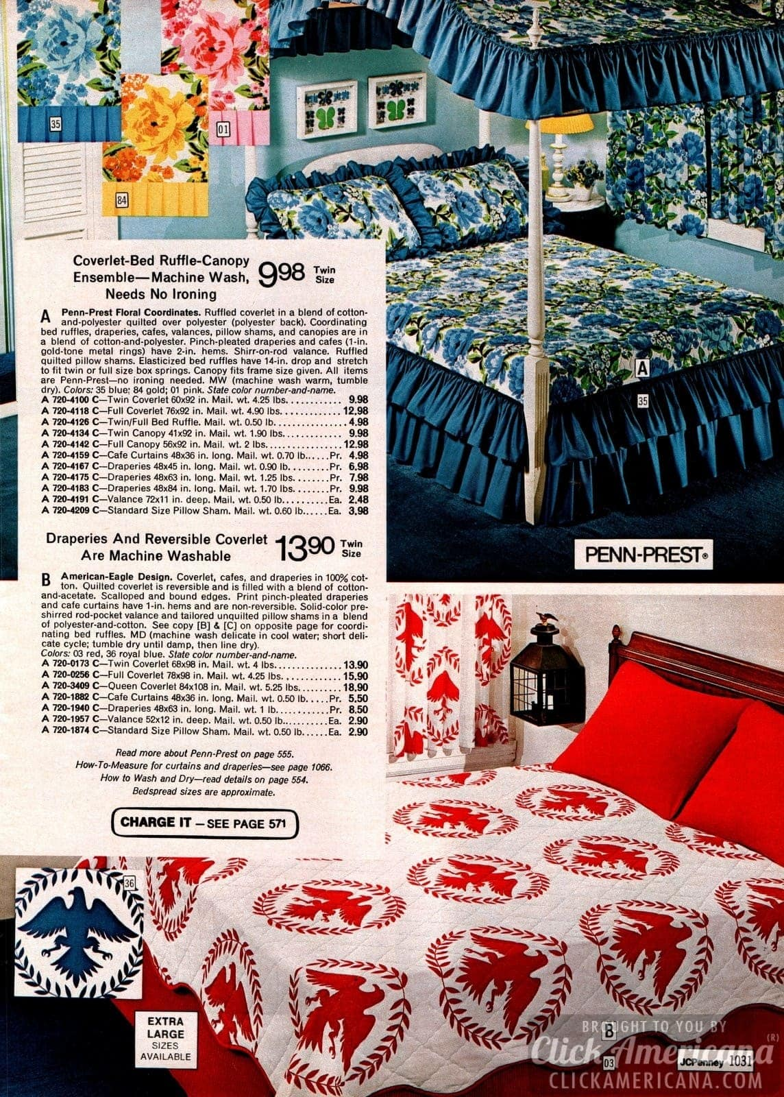 Canopy bed ensemble & American eagle design