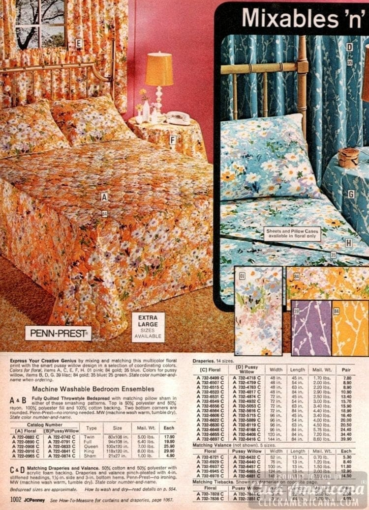 Floral pattern '70s bedspreads & sheets
