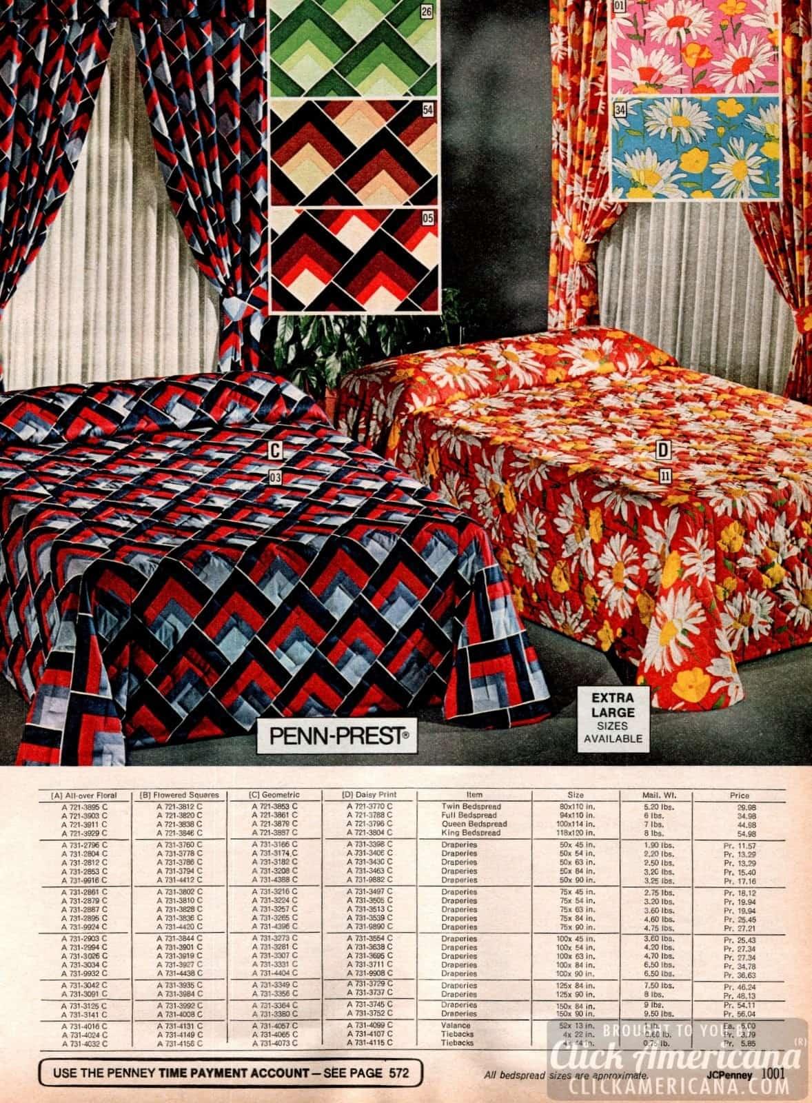 70s geometric print and huge daisy print bedspreads