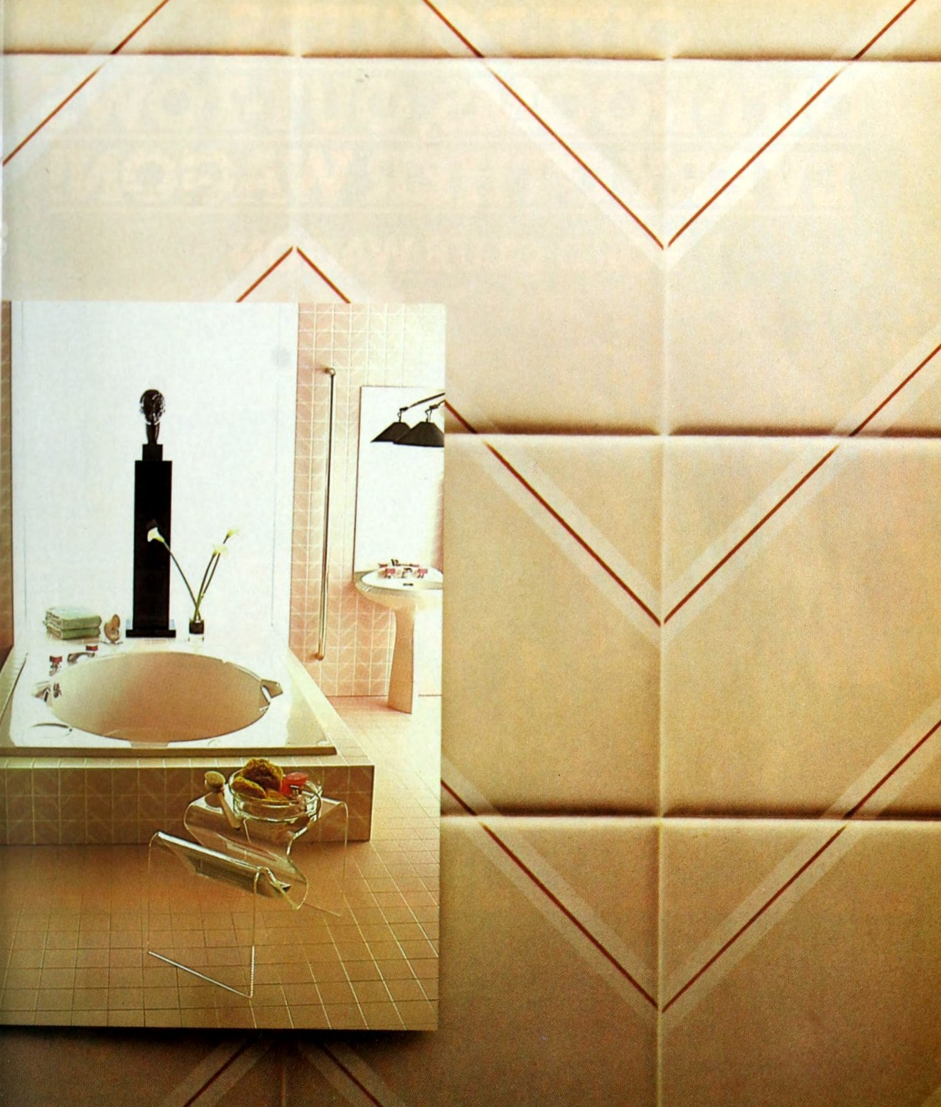 Retro beige bathroom tile with red accent lines (1984)