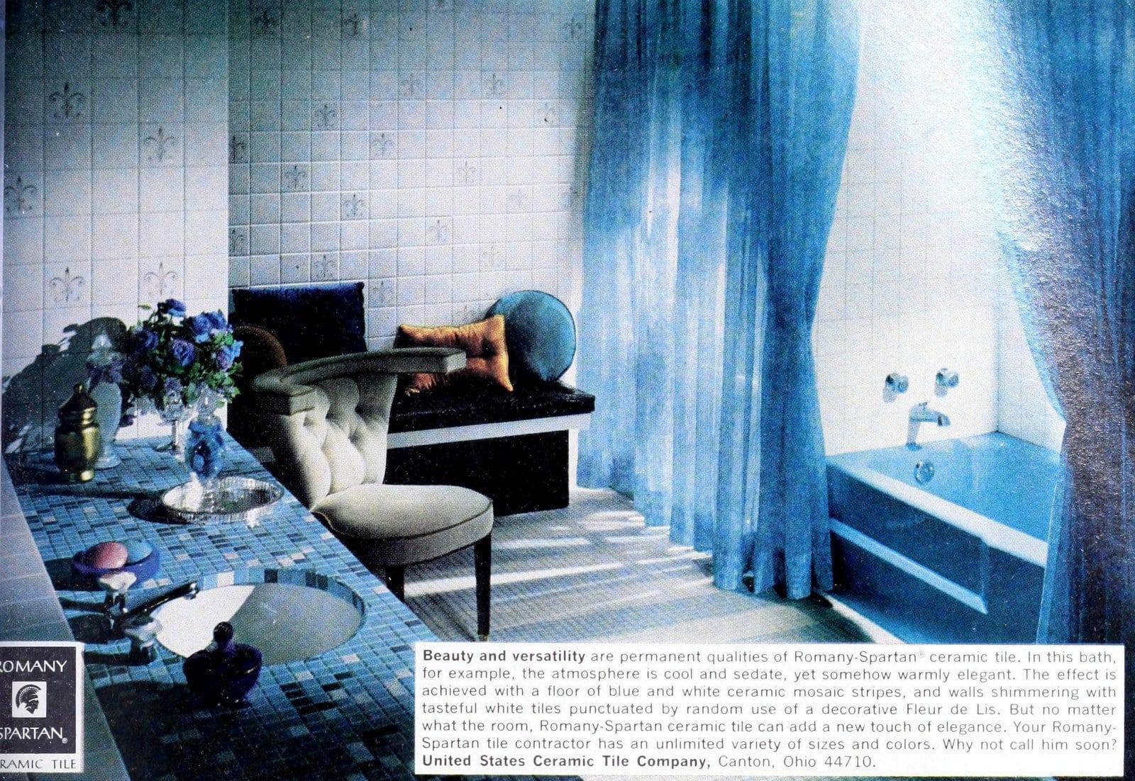 Retro blue and white ceramic mosaic stripes in bathroom