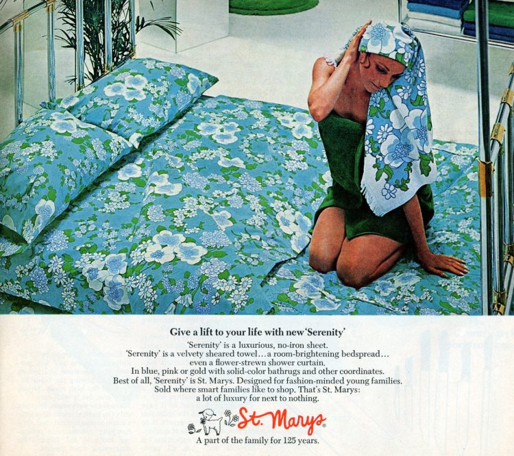 Retro blue flowers on sheets from 1970