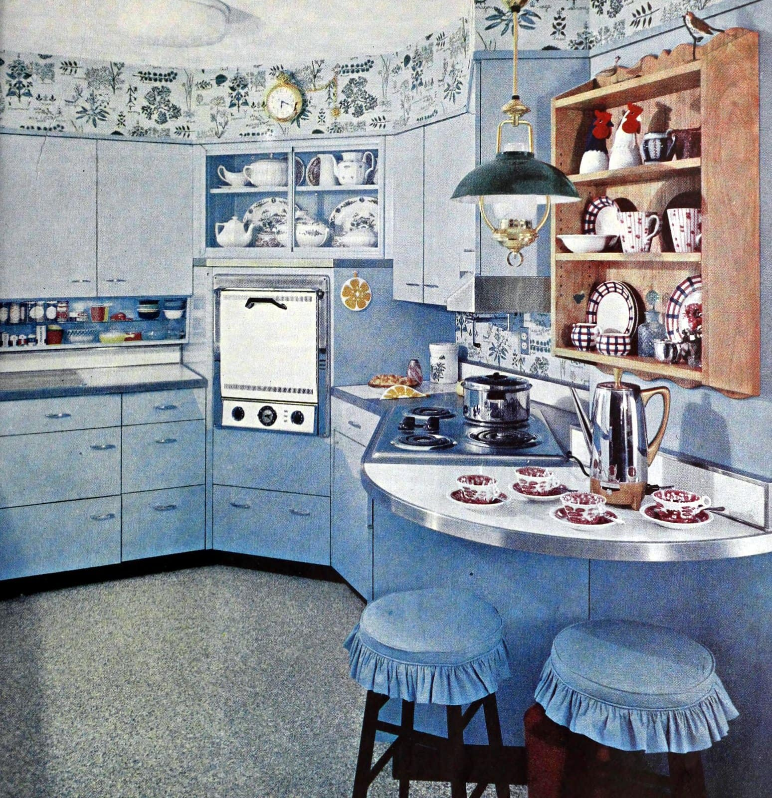 Retro blue kitchen design (1958)
