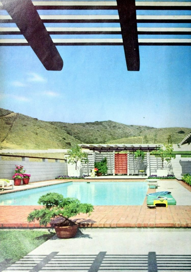 Retro blue swimming pool from 1965