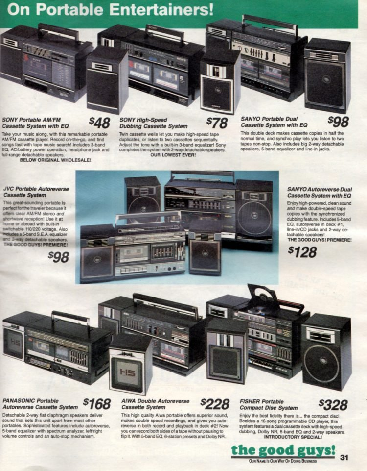 Retro boomboxes Portable entertainers from the 80s