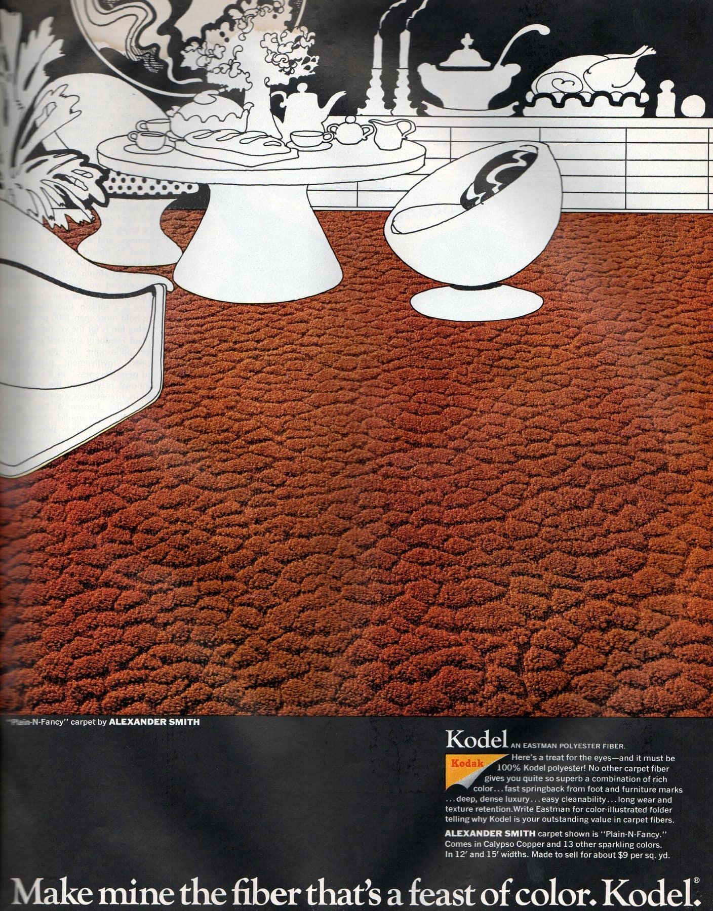 Retro brick red Kodel textured carpet (1968)