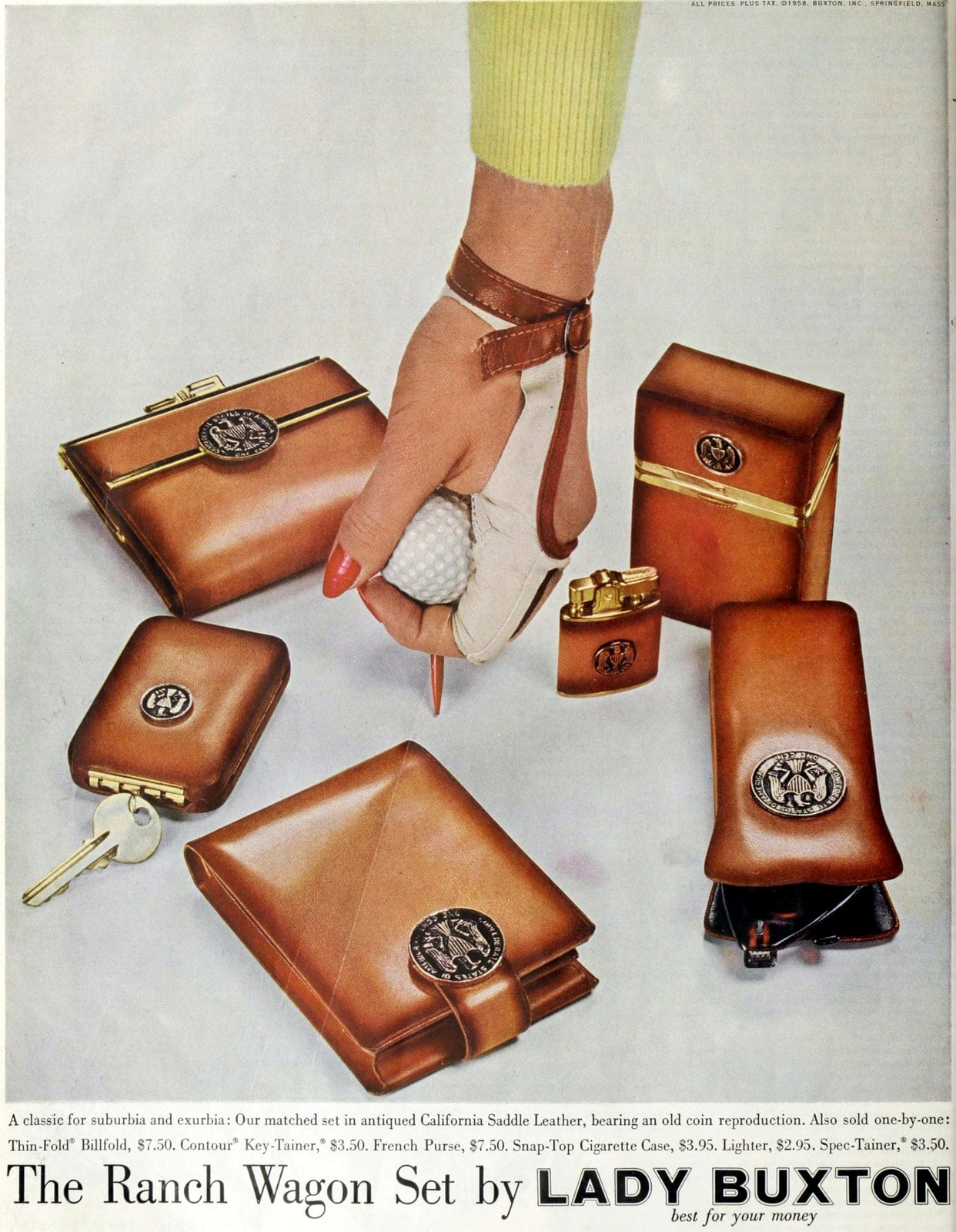 Retro brown leather Ranch Wagon wallet set from Lady Buxton (1958)