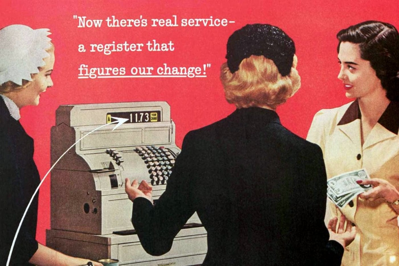 Retro cash registers amazed people by figuring out exact change