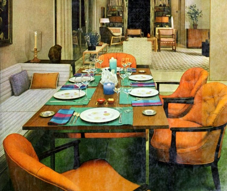 Retro casual dinner party table concept from 1959