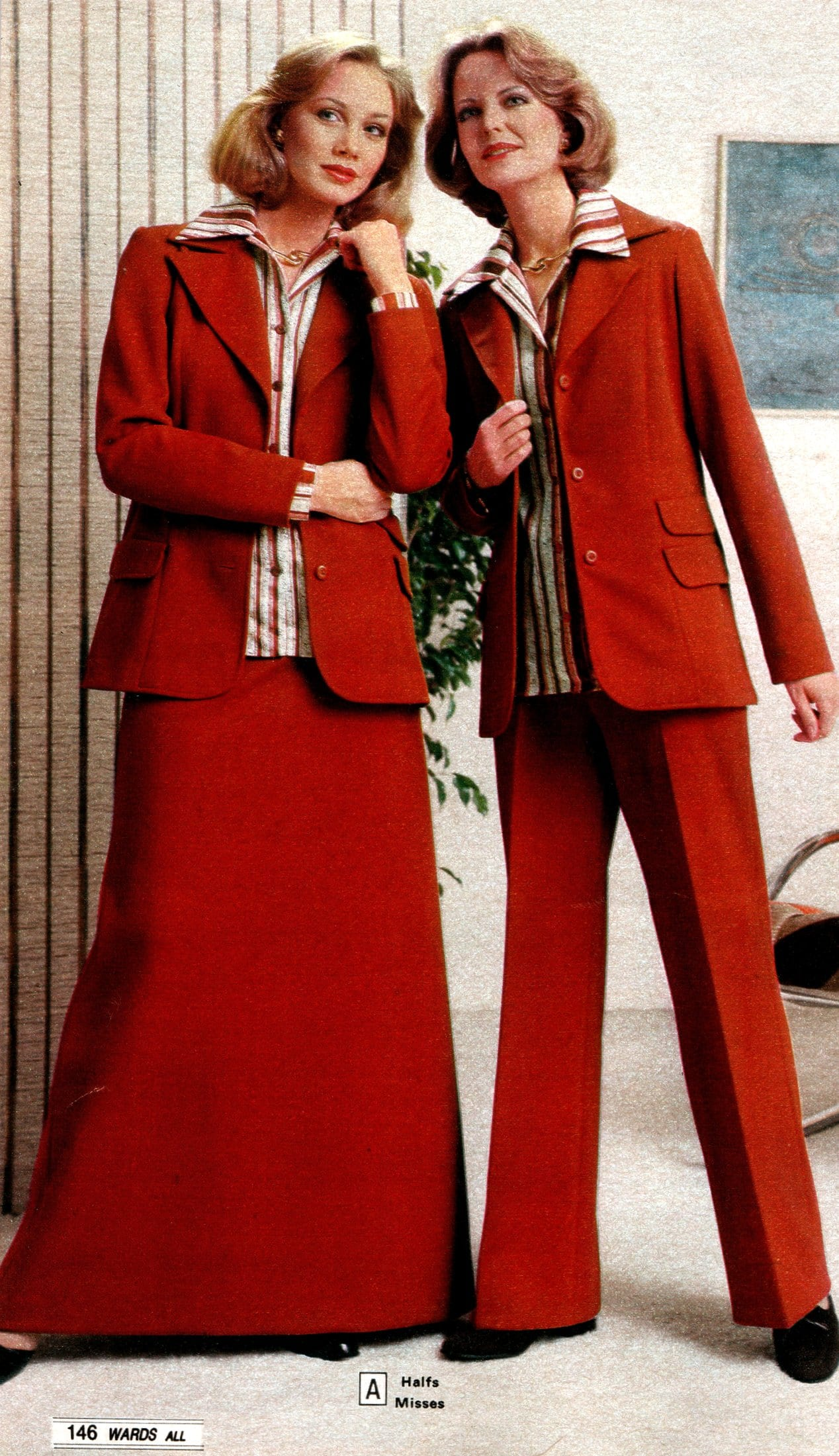 Retro casual red suits for women (1979)