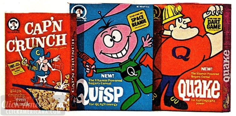 Retro cereals from 1967 - Quaker Cap'n Crunch, Quisp, Quake