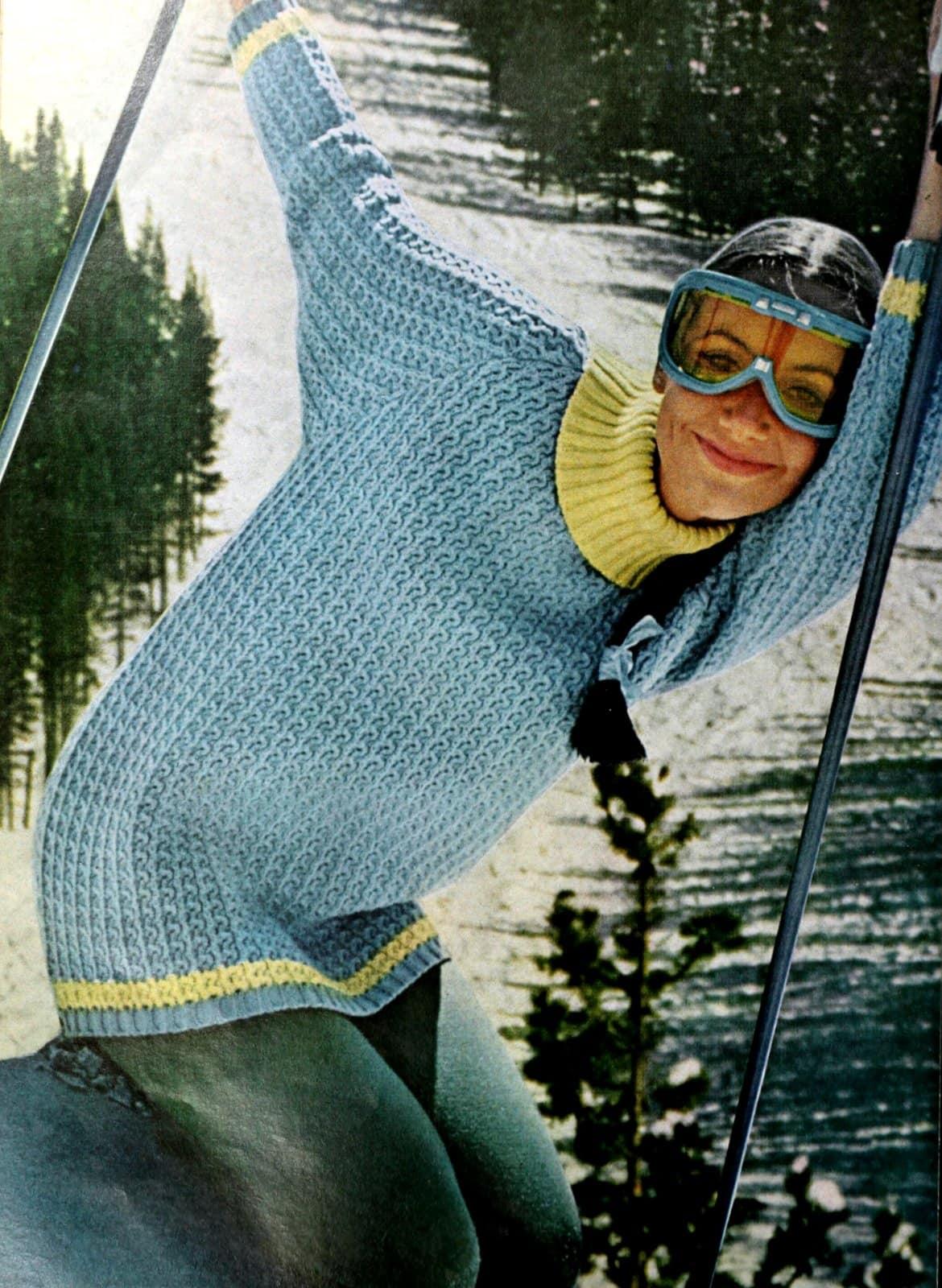 Retro chunky blue ski sweater from 1964