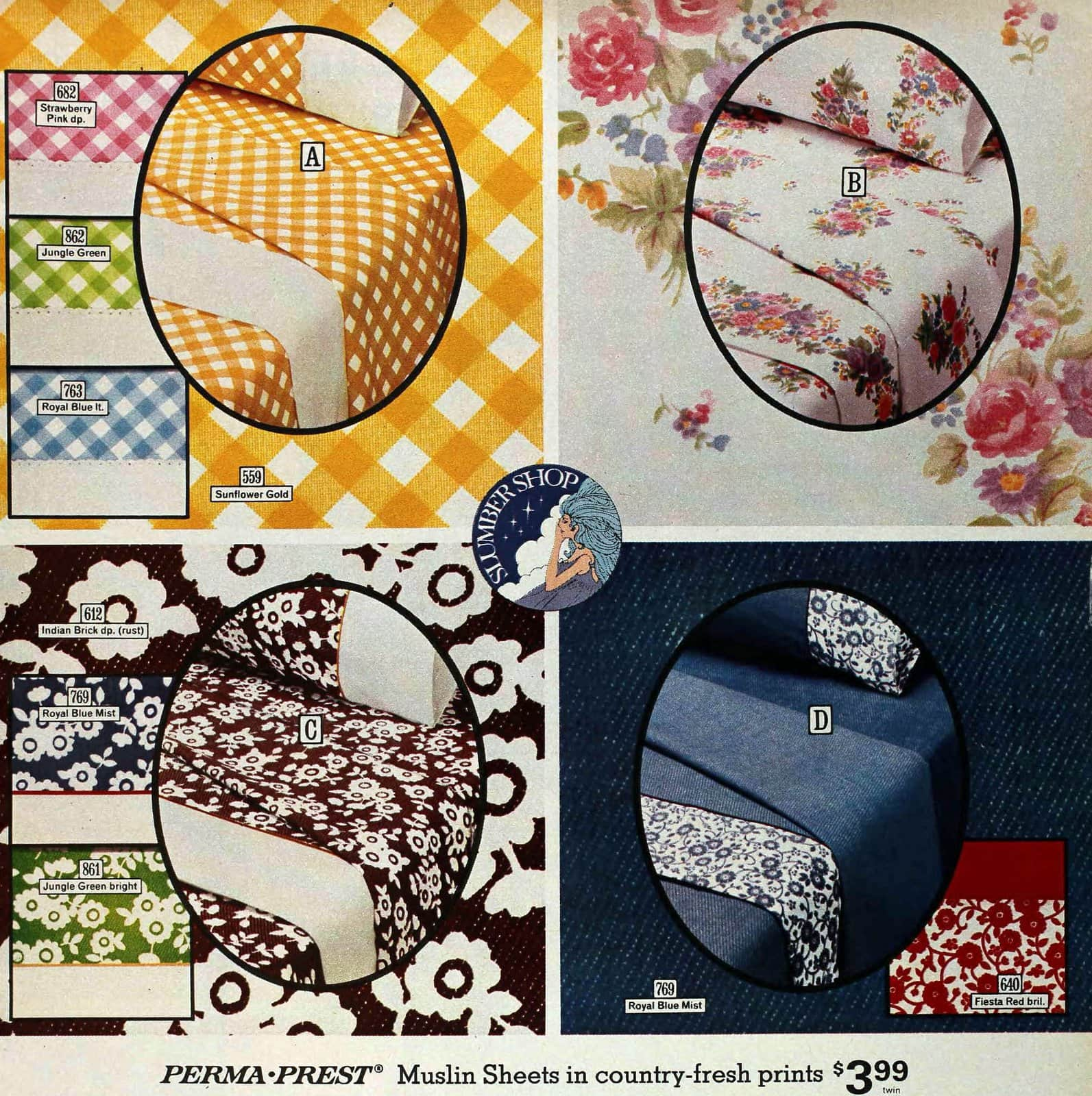 Retro colorful sheet sets from the 1970s - Checks and simple small floral patterns