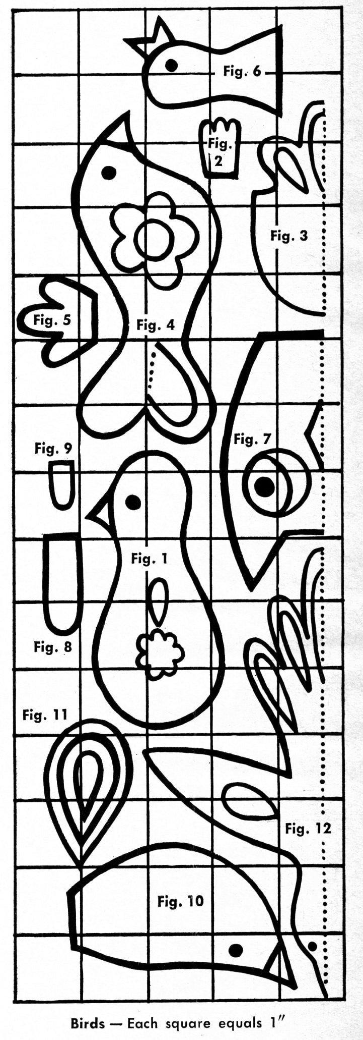Retro craft bird patterns