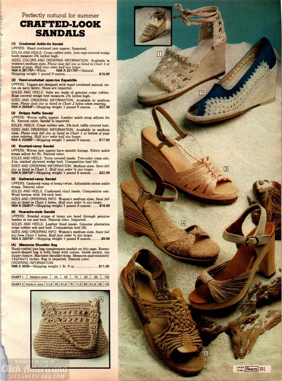 Retro crafted-look sandals - crochet-look, macrame-style and hemp heels from 1979