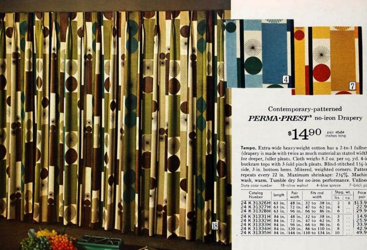 Retro curtains from the 1970s - Tempo pattern