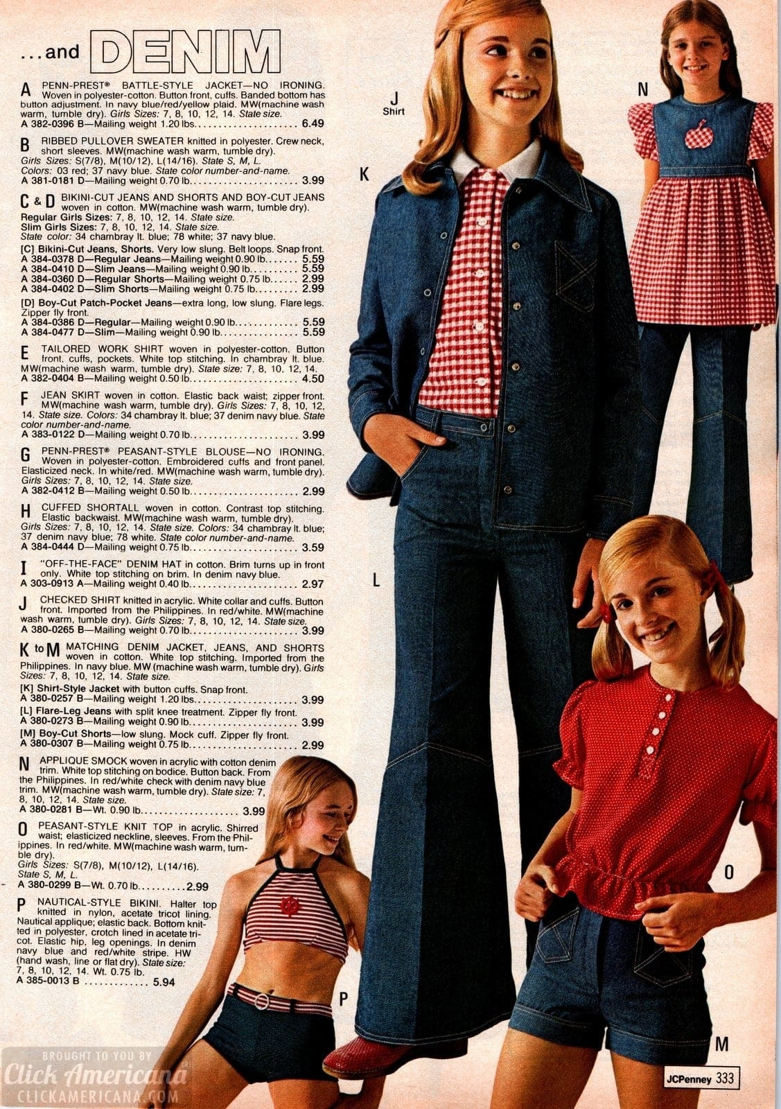 Retro denim outfits for girls - bikini-cut jeans and jean skirts plus peasant-style tops